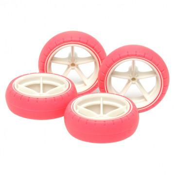 Cerchi Grandi in Nylon con Gomme ad Arco Rosa