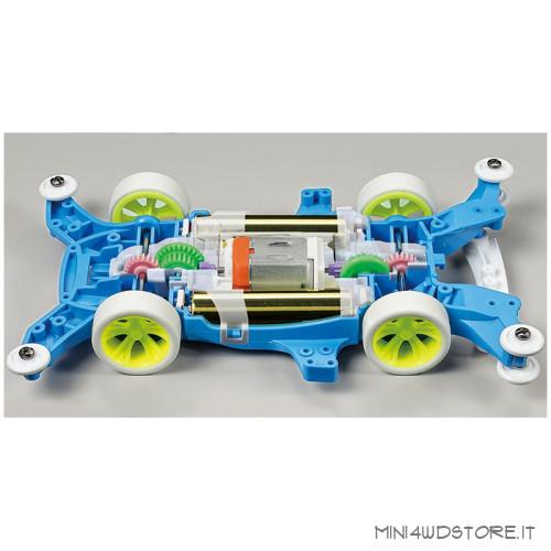 Mini 4WD Hawk Racer Gt Clear Blue con Telaio MA