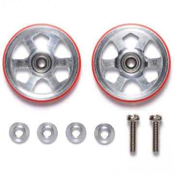 Roller in Alluminio da 19mm a 6 Razze con Anello Rosso in Plastica
