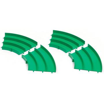 Set Curve Verdi per Pista Mini 4WD a 3 Corsie