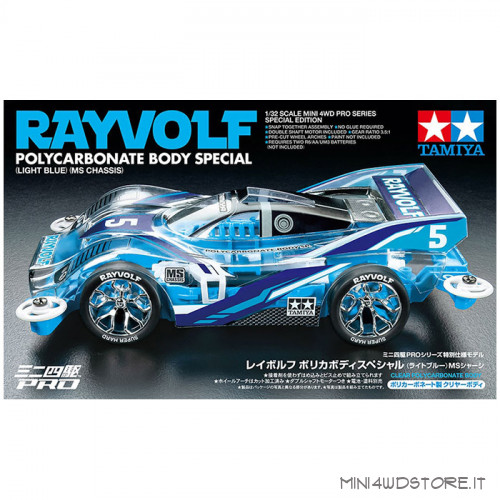 Mini 4WD Rayvolf Polyc. Body Light Blue Special con Telaio MS